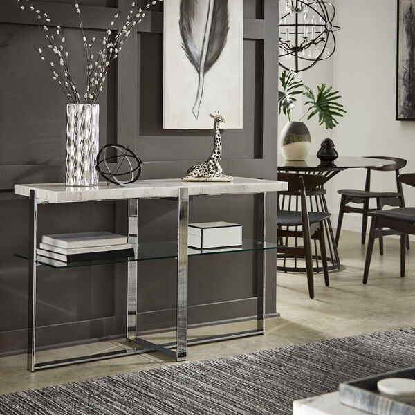 Diana Chrome Marble Top Framed Sofa Table, image 5